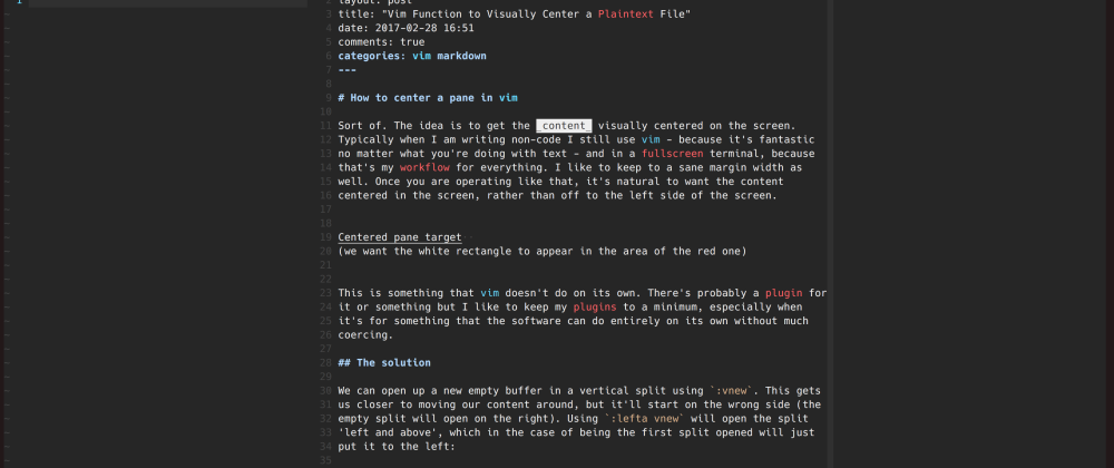 Cover image for Easily center content in vim