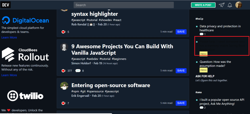 dev.to home page hover color