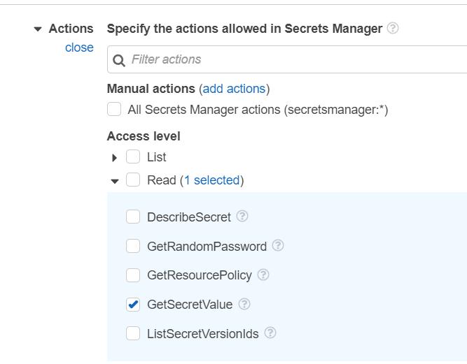 Set access level to read and retrieve secret values