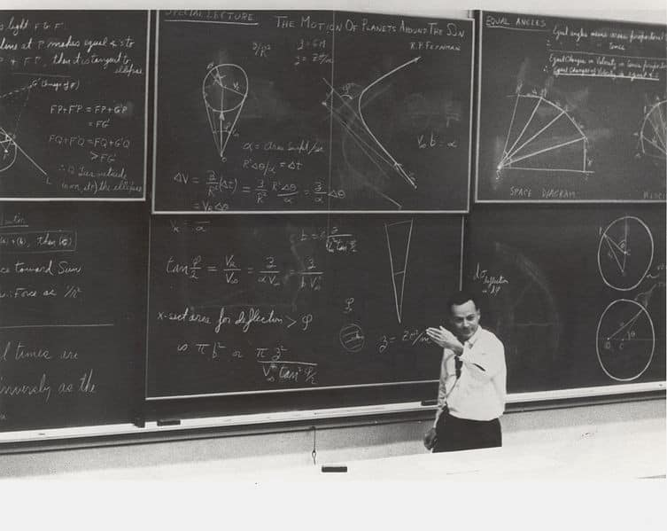 Feynman with a blackboard