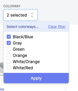 Color Checkbox Filter screenshot