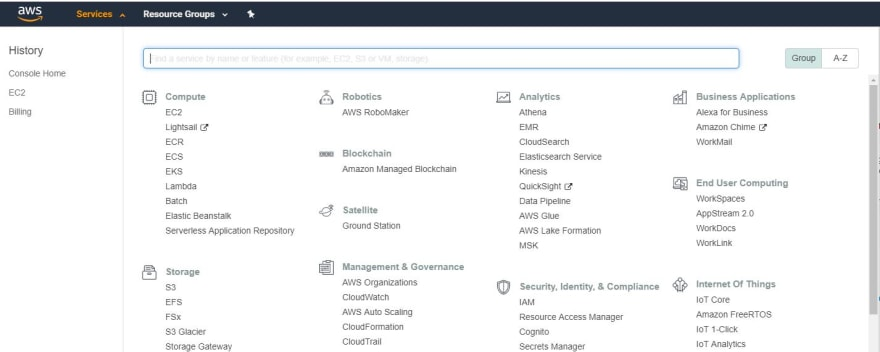 Selecting EC2 services from AWS console
