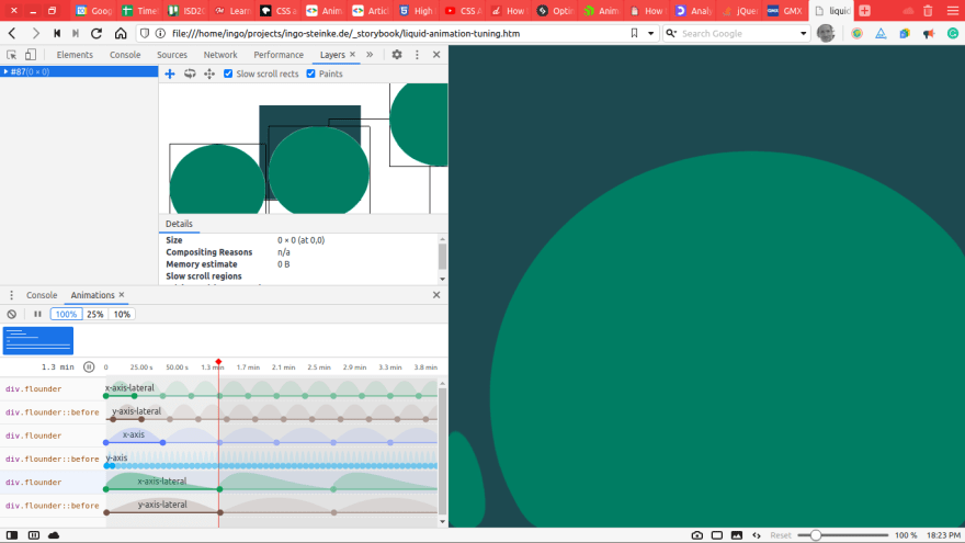 Screenshot of browser developer tools showing details of layers and animations