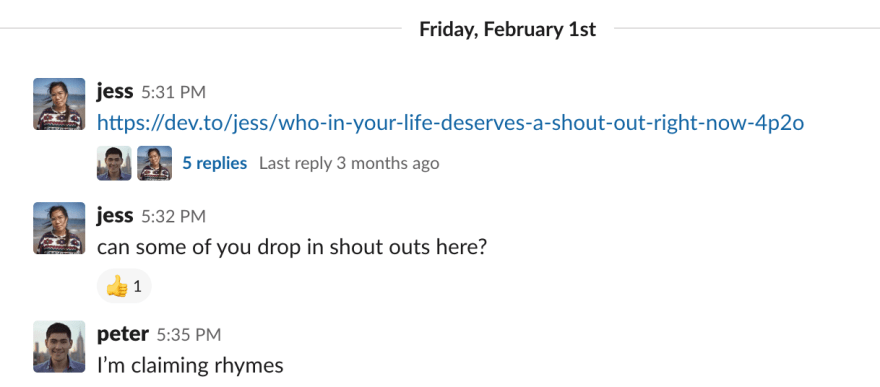 screenshot of Peter mentioning Rhymes in company Slack