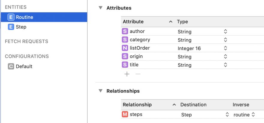 Routine entity in model editor