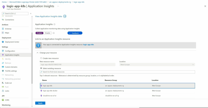 Screenshot showing the App Insights configuration experience for a Logic App in an Application Service Kubernetes Environment