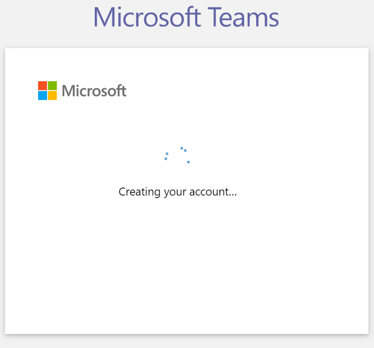 Microsoft Teams - Signup step 6 - Create account