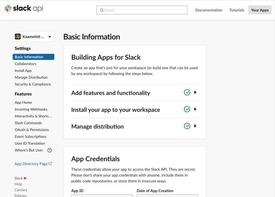 useless screenshot of a Slack app dashboard