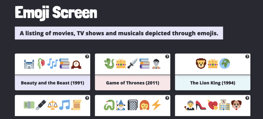 Screenshot of Emojiscreen homepage