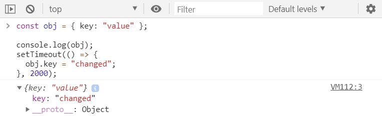 Console.log() dynamic evaluation