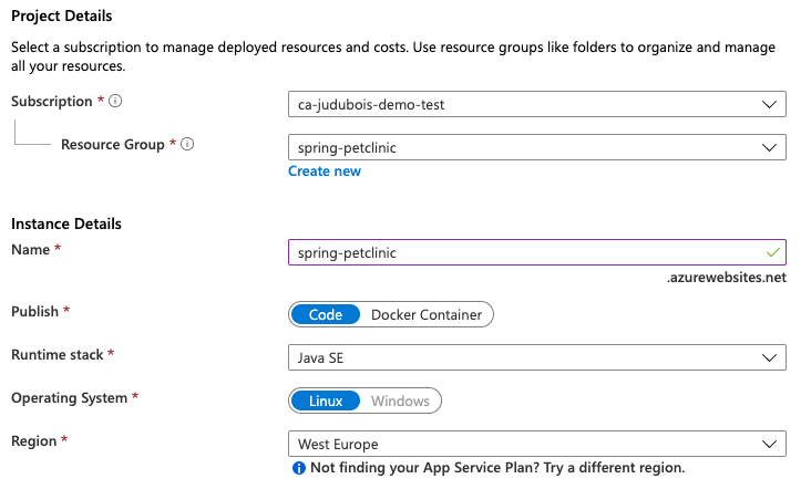 Creating App Service