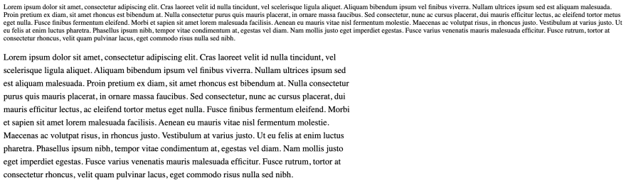 Two paragraphs of Lorem Ipsum, one without styles and another with them