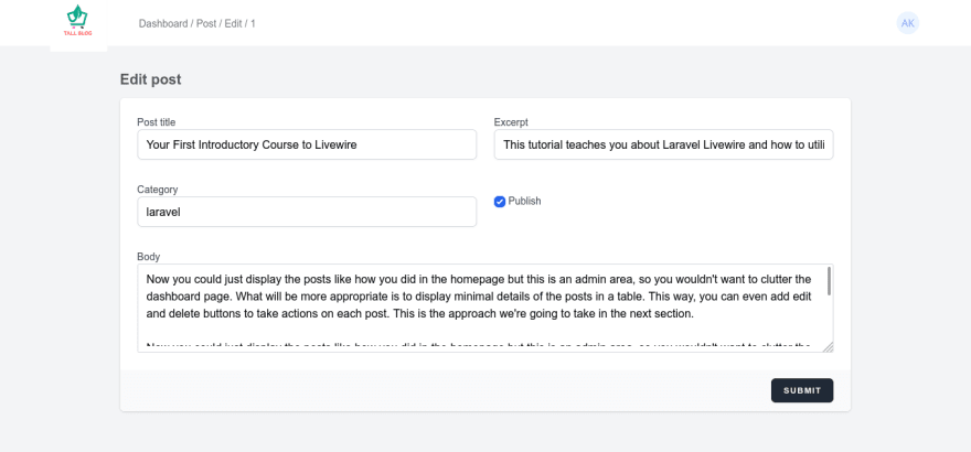 Edit page with fields prefilled