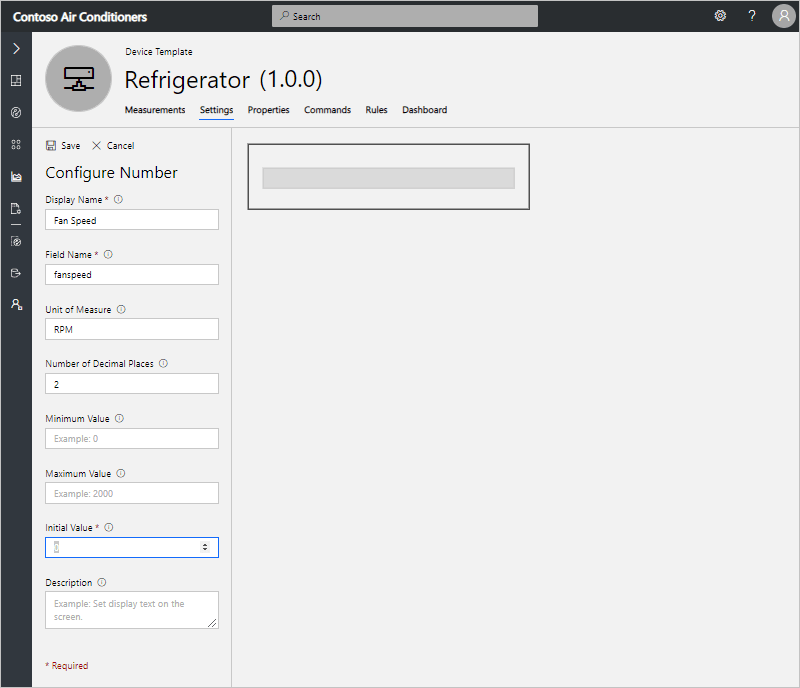 """""""Configure Number"""" form with details for speed settings"""