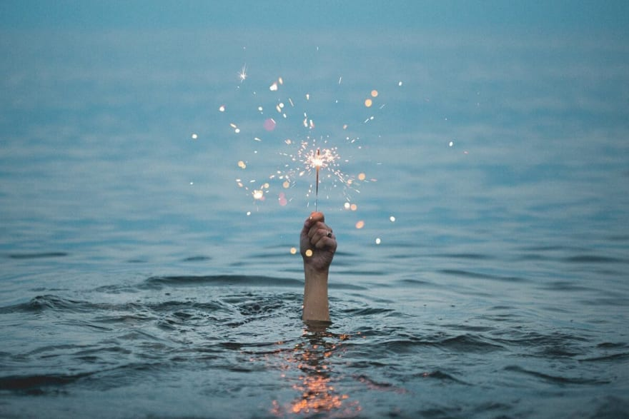 """Fireworks in water"""