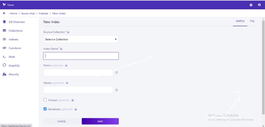 Create new fauna index screen
