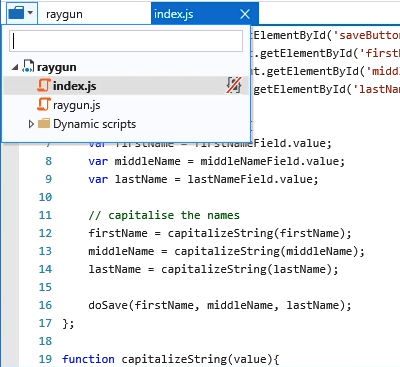 Internet Explorer debugging example
