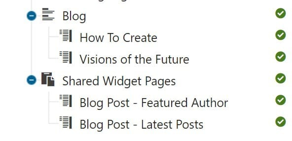 Blog and Shared Widget Page content structure in the Content Tree