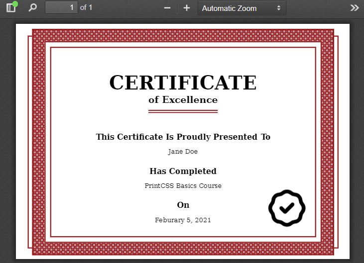 The final certificate PDF made with HTML & CSS and rendered with WeasyPrint.