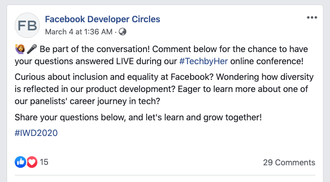 Facebook #TechbyHer Online Conference