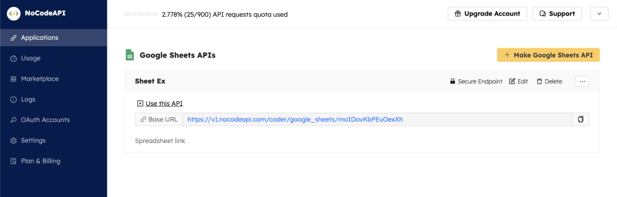 Google Sheet API endpoint