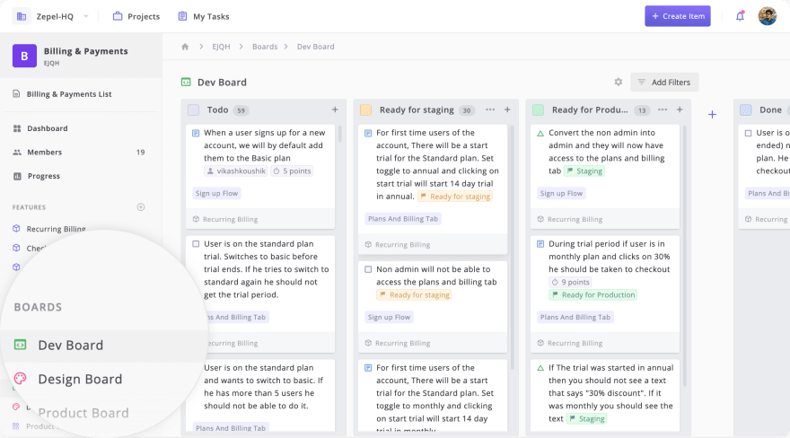 Add a Kanban Board for every team involved in building the feature