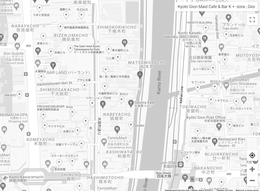 A street map in black-and-white