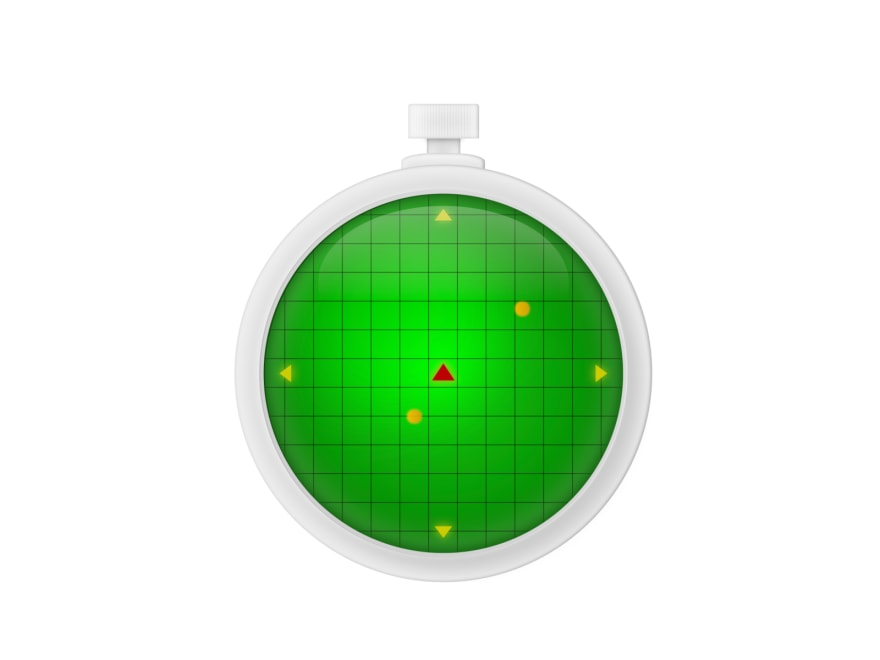 Cartoon of a dragon radar: a rounded object with a screen showing coordinates and blinking lights