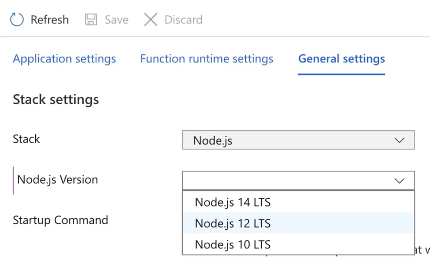 Change Node.js version in Linux Azure Functions in Portal