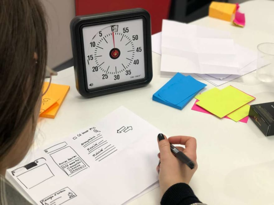A team works during a design sprint with a clock in front of them