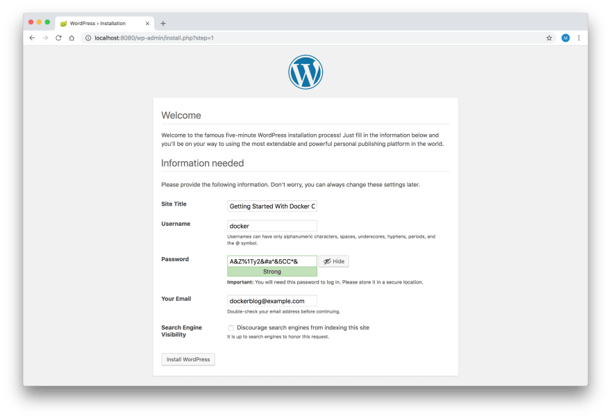 WordPress Setup - Step 2