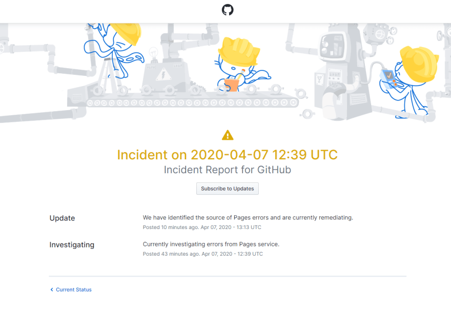 Github pages is down