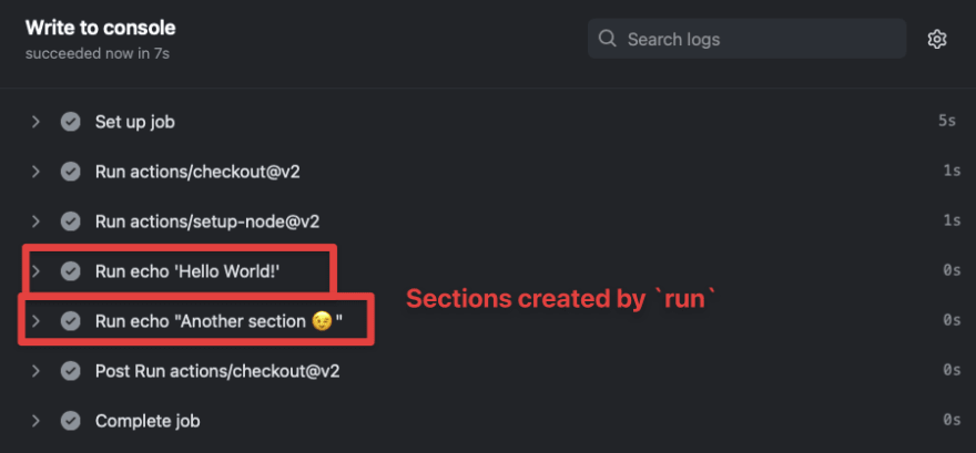sections created with run