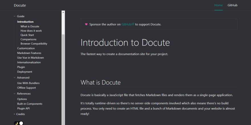 Documentation Generator Docute - Homepage screen
