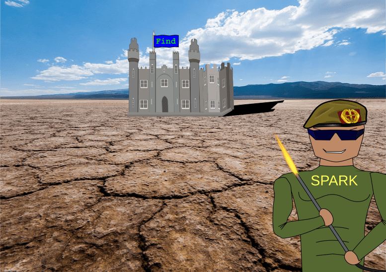 """Castle with flag labelled """"Find"""" in the middle of a desert and a soldier with a flamethrower with a """"SPARK"""" labeled t-shirt"""
