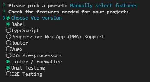 Vue Create - Manually select features