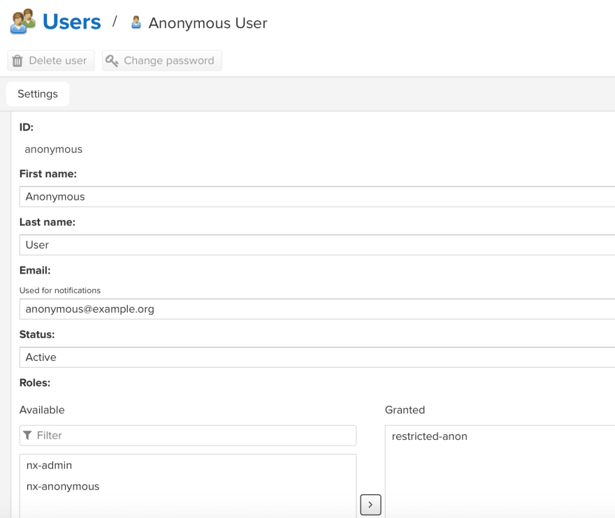 Anonymous user linked to our custom role