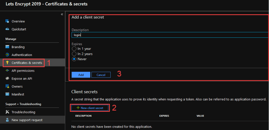 Screenshot of the creation of the Service Principle client secret