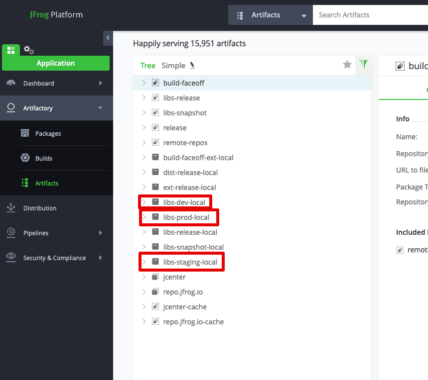 Maven repositories in JFrog Arifactory