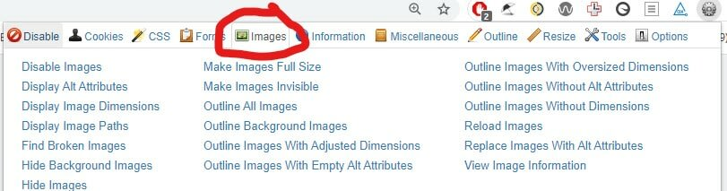 Images tab located at top of popup window at the 5th position