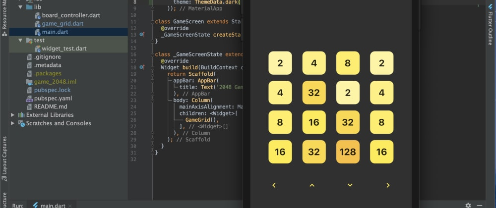 Cover image for 2048 Game 🕹 using Flutter - Work in Progress 🚧