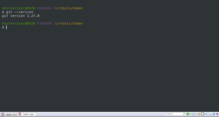 Output for git --version.