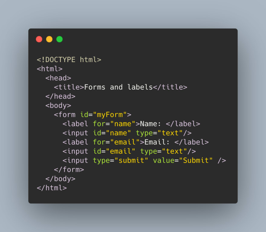 Example of HTML labels for input fields