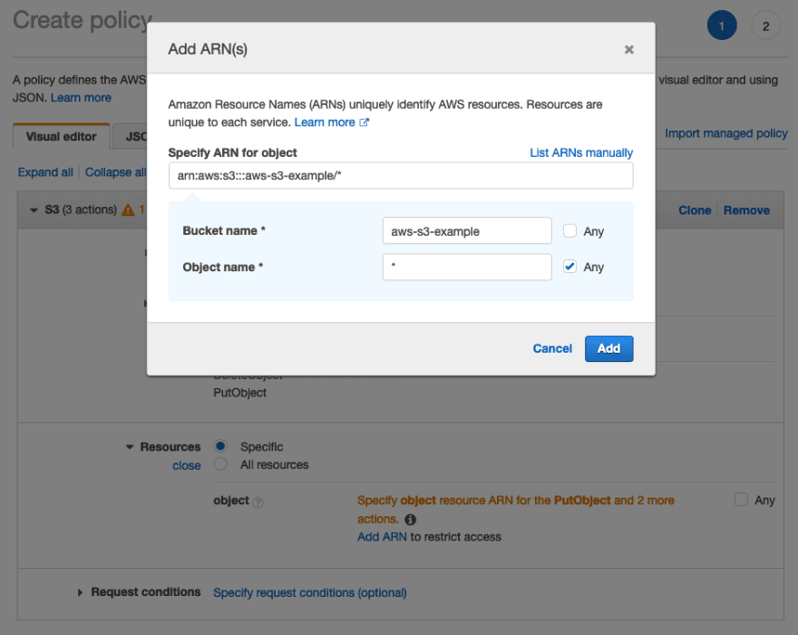 A screenshot of the Add ARN screen when creating a policy