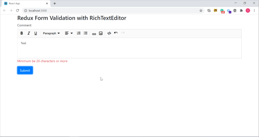 Redux Form validation with RichTextEditor in the browser console