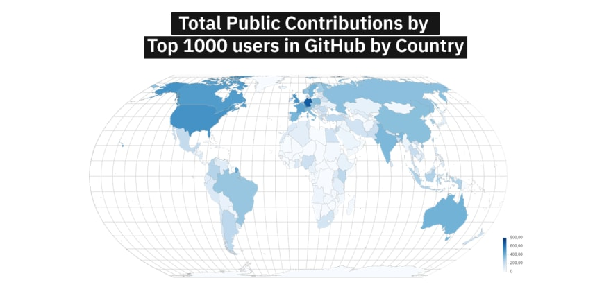 Top GitHub Users By Country Map