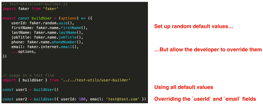 Creating a User test object builder with the help of faker.js