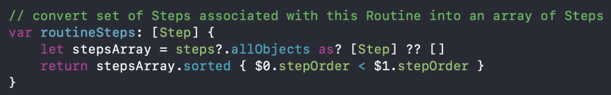 Code snippet of routineSteps computed property