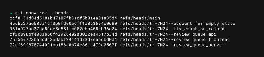 git show-ref --heads