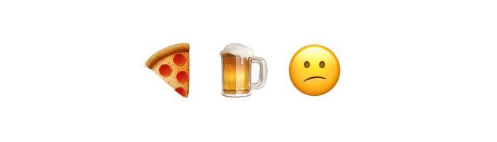 pizza+beer=frown
